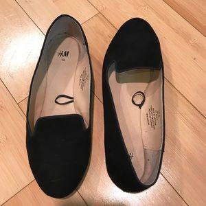 H & M Black Velvet Loafers - Like New